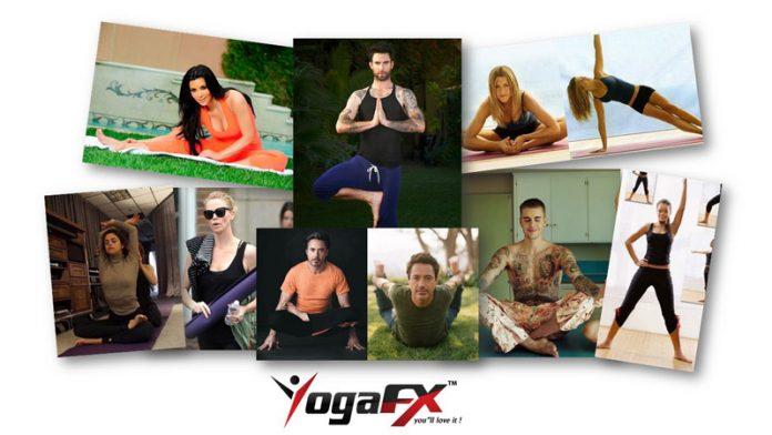 celebrities doing yoga