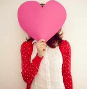 woman holding love